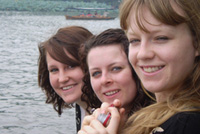 Three girls on a boat in China